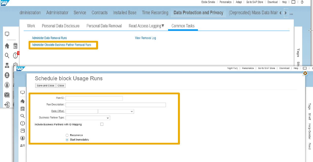 SAP Data removal run