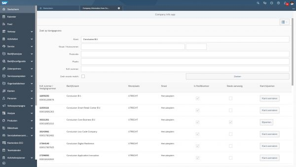 SAP ERP Company info